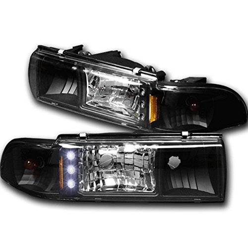 ZMAUTOPARTS Replacement Headlights Headlamps W/Corner Signal Black For 1991-1996 Chevy Caprice / 1994-1996 Impala