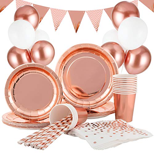 Hotelvs 145 PCS Stoviglie per Feste Oro Rosa Decorazioni, Stoviglie Festa Piatti Tovaglioli Bicchieri Cannucce per Feste, Matrimoni, Anniversari, Compleanno (16 Ospiti)