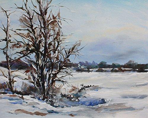 Bild Landschaft Winter Schnee Malerei Kunst Original Ölmalerei Gemälde 30x24 cm