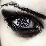 """Designlenses, Dos lentillas de color negro y morado patrón de pentagrama para Halloween disfraz lentes sin dioprtías/corregir + gratis caso de lente """"Ciel'"""