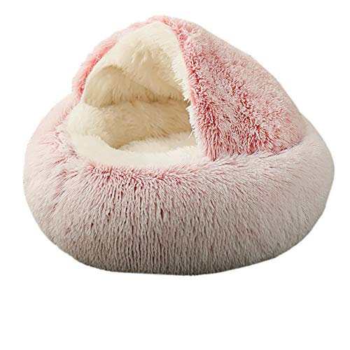 Blivener Pet Bed- Round Soft Plush Burrowing Cave Hooded Cat Bed Donut for Dogs Cats, Faux Fur Cuddler Round Comfortable Self Warming Indoor Sleeping Bed Multiple Sizes, and Colors Pink 70CM / Medium