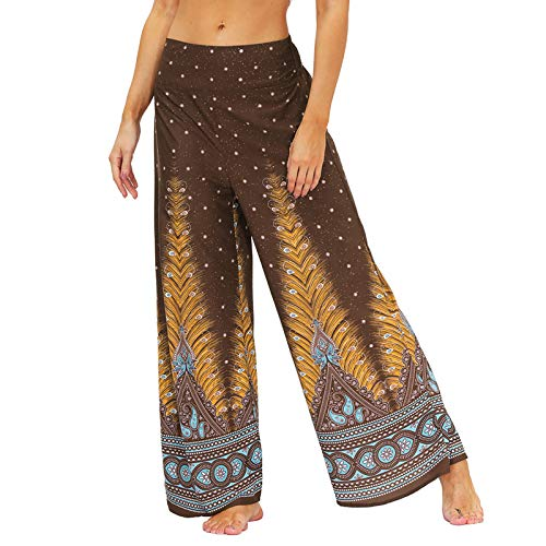 TUDUZ Pantalones Harén Aladdin Mujer Holgado Boho Hippy Pantalones Deportivos Mono Casual(C Amarillo,L)
