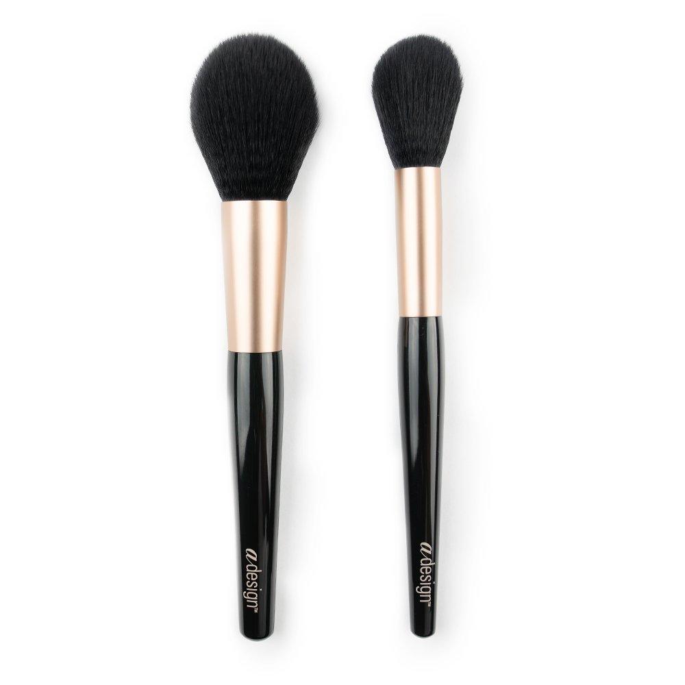 aDesign Professional 2 Piece Makeup Brush Kit – Powder Power Duo