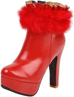 TAOFFEN Women Sexy Platform Boots Party Block High Heels Zip
