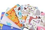 6 Telas de dinosaurios para cojines, costura, colchas, toallas, banderines, caravanas, guirnaldas,...