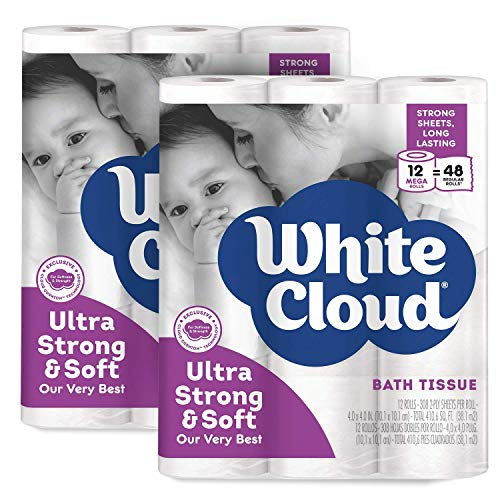 White Cloud 2-Ply Strong & Soft Toilet Paper – 2 Pack of 12 Rolls, 24 Total Mega Rolls, 308 Sheets per Roll