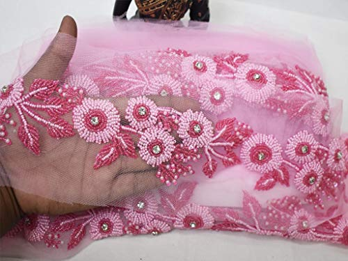 Wholesale Pink Beaded Trim by 9 Yard 2.5 inch Wedding Dress Beads Ribbon Bridal Belt Sashes Trimming Indian wear Laces Costume Crafting net Fabric Sewing Beaded Sari Border Garments Accessories
