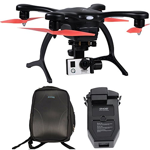 EHang GhostDrone 2.0 Aerial Drone - Black/Orange 1 Year Crash Coverage Included Pro Bundle with Extra Battery and Ghost Custom Backpack