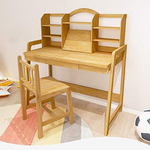MOMIN Kindersitzgruppe Holz for Kinder Studie Tisch Schlafzimmer Studenten Schreibtisch und Stuhl for Junge Mädchen Drawer Bleistift Slot Kids School Workstation (Farbe : Beige, Größe : 50x113x120cm)
