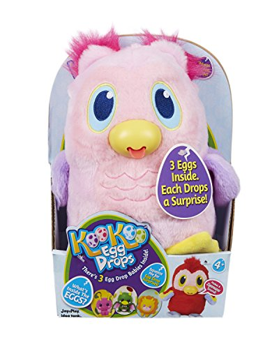 Jay at Play Koo Koo Egg Drops Plush Owl Toy. Includes 3 Egg Drop Surprise Eggs - Perfect Easter Basket Gift for Girls & Boys - Squeeze for a Surprise Toy & Hatch Adorable, Collectible Egg Drop Babies