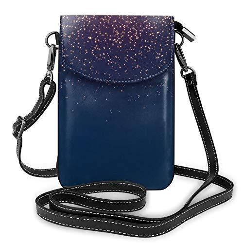 Bolso cruzado azul marino con estrellas del cielo del teléfono celular, bolso del teléfono celular, monedero de la cartera del teléfono celular bolso del embrague de cuero