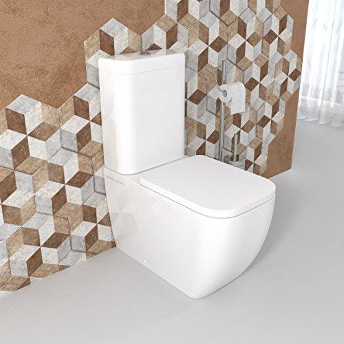 Sanitari bagno Vaso WC monoblocco filomuro a terra con coprivaso sedile softclose cassetta di scarico. Legend