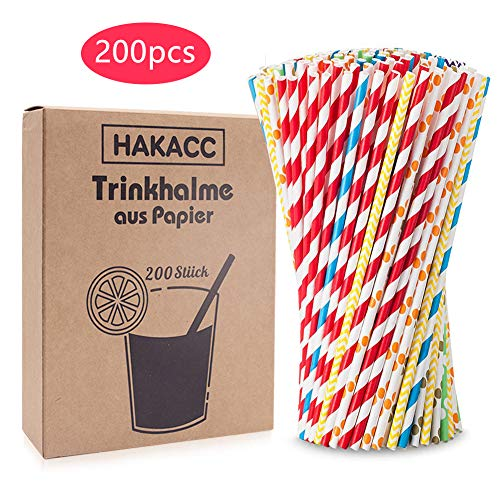 HAKACC Papier Strohhalme, 200 Stück Bio Strohhalme Bunte Papier Trinkhalme Einweg Umweltfreundlich Strohhalme für Partys Hochzeiten Geburgstag Weihnachten