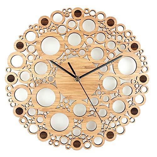 QXbecky Reloj de Pared de múltiples Anillos de Madera de bambú Natural Simple Creativo Colgante de Pared Mesa de Reloj de Cuarzo Mudo