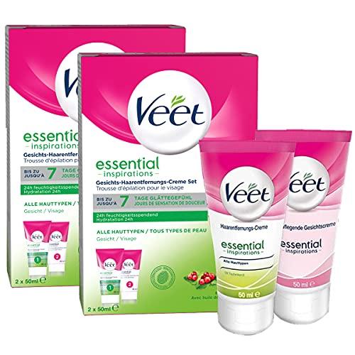 Veet Gesicht Haarentfernungs-Creme Set für sensible Haut mit Aloe Vera und Vitamin E, 2er Pack (4 x 50 ml)