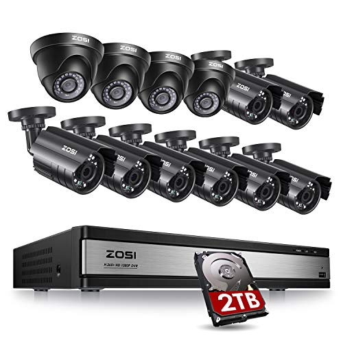 ZOSI 16CH 1080P Security Camera System with 2TB Hard Drive,H.265+ 16Channel 1080P HD-TVI DVR with 12PCS 1080P Outdoor Indoor Surveillance Cameras, 80ft Night Vision, Motion Detection,Remote Access