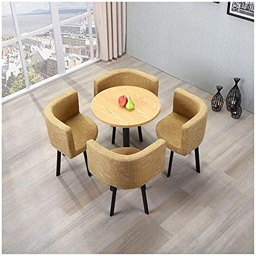 PIVFEDQX Esstisch Set für Esszimmer und Küche, Nordic Tisch und Stuhl Kombination Büro Empfangstische und Stühle Coffee Shop Runder Tisch Balkon Terrasse Teeraum Tisch