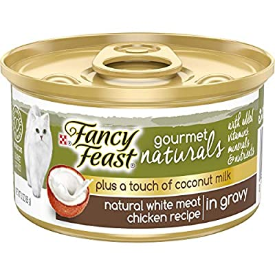 Purina Fancy Feast Natural Gravy Wet Cat Food, Gourmet Naturals Plus Coconut Milk White Meat Chicken Recipe - (24) 3 oz. Cans