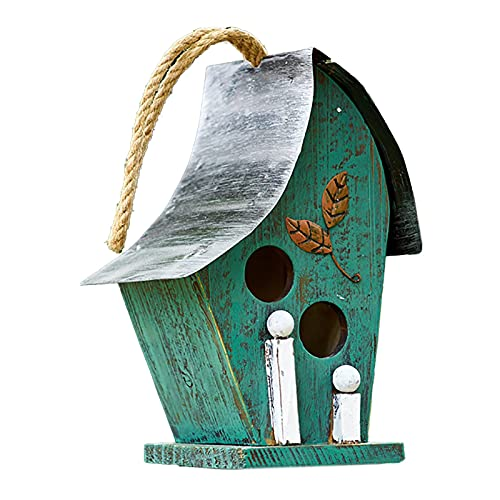 WULOVEMI Im Freien Statuen Rustikales Vogelhaus mit Hanfseil für draußen, 11,42 Zoll Hohe draußen hölzerne Vogelnest, hängend oder Tischplatte