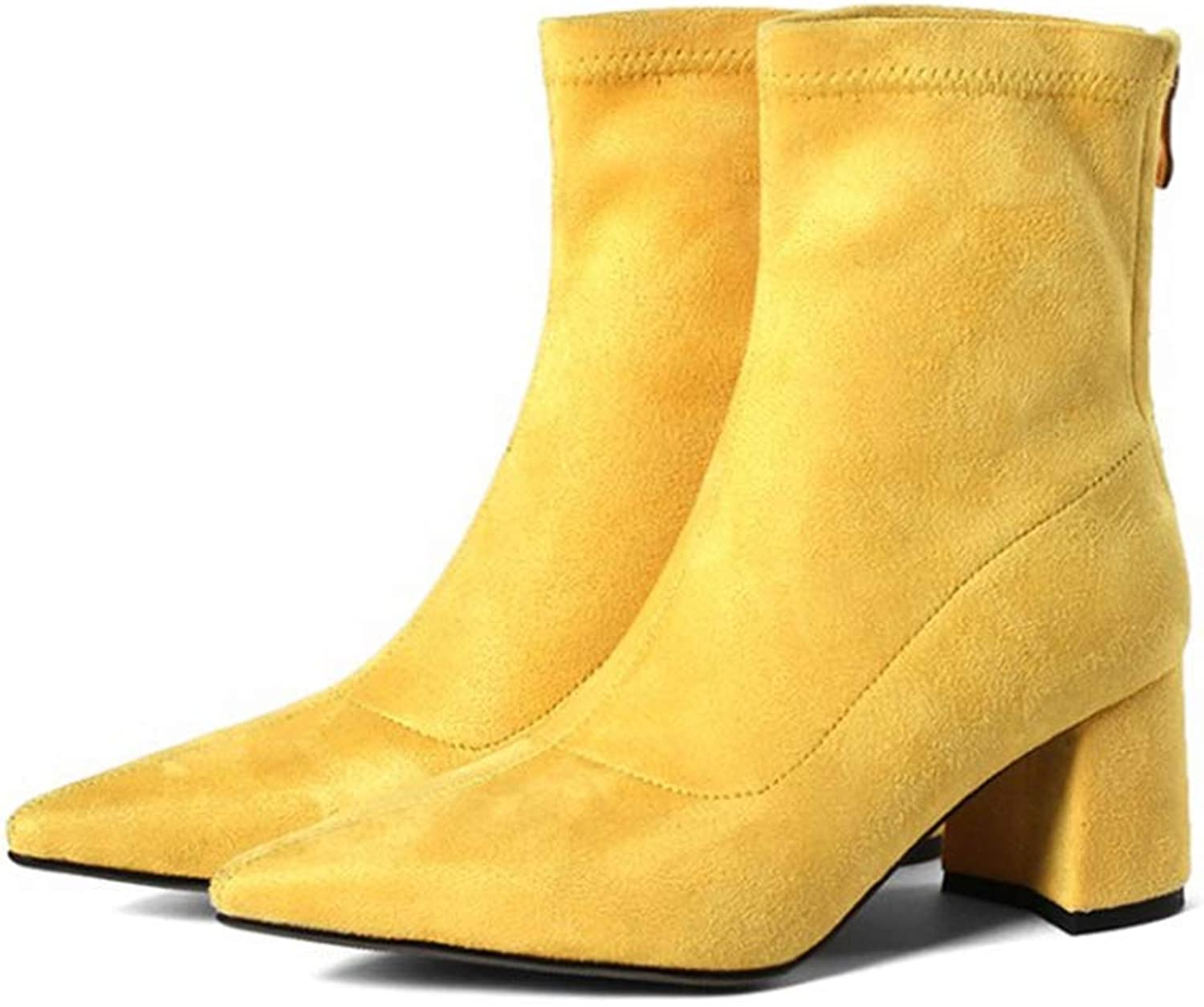 T-JULY Women Mid Calf Boots Yellow color Pointed Toe Zippers Autumn Spring Fashion Martin Casual shoes