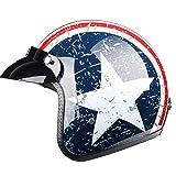 TOUKUI Casco de moto jet con cara abierta Captain Star, casco para moto vintage, piloto cafe racer helm summer@blanco azul brillante_M