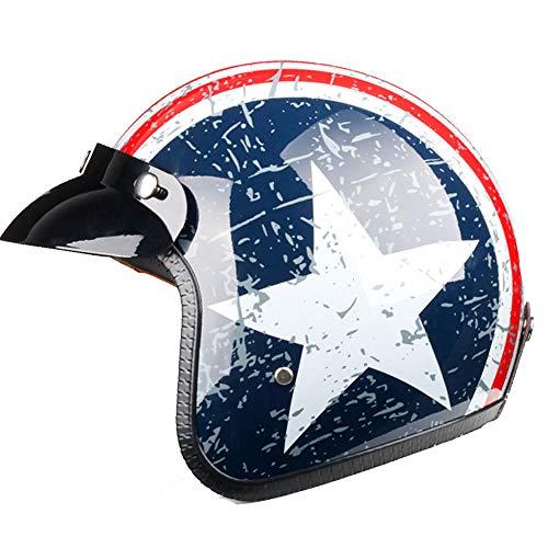 Color Negro Opaco Homologado Unido Vintage Custom Scrambler Caf/è Racer L negro Helmet Casco Jet