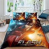 CUICUI Juego de ropa de cama de Movie The Flash, decoración de dormitorio, 1 funda nórdica y 2 fundas de almohada, suave y delicada (flash 3,135 x 200 cm, 50 x 75 cm x 2)