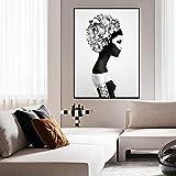 wojinbao No frameGirl avec des Fleurs murales Art Toile Prints Noir et Blanc Affiches...
