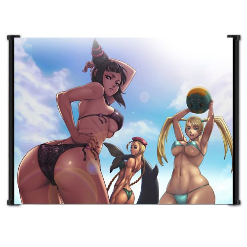 """Street Fighter Anime Game Girls at The Beach Featuring Cammy, Juri, R. Mika Wall Scroll Poster (23""""x16"""") Inches"""