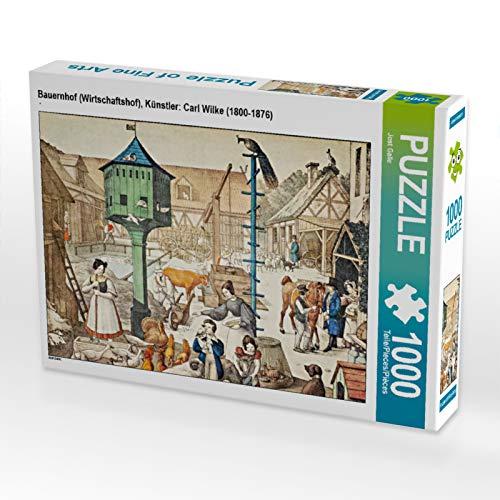 CALVENDO Puzzle Bauernhof (Wirtschaftshof), Künstler: Carl Wilke (1800-1876) 1000 Teile...