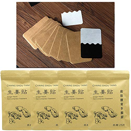 Ingwer-Patch Ginger Patches Heating Pad Hot Compress Chinese Traditional Pure Nature Treatment Plant Extract Health Care for Shoulder, Neck, Hand, Back, Feet, Knee, Joint Injure, 12 * 8cm (100pcs)