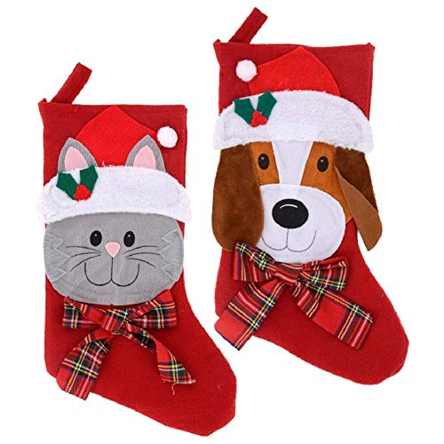 Christmas Stockings 2 Pet 18' Decorations Celebrate a Holiday 1 Cat 1 Dog Cute Puppy Kitten Accessories Red Large