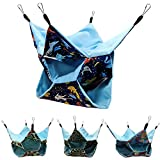 Small Animal Hanging Hammock Pet Swinging Bed 3 Tier Sleep Nap Sack Cage Accessories Kit Set Tunnel Ferret Rat Cave Sugar Glider Hideouts Warm Bedding for Squirrel Guinea Pig (Bluecat Pattern)