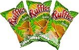 Sabritas Authentic Mexican Chips Large Bag Fresh Mexican Snacks-Cheetos Bolita, Torciditos, Colmillos, Flaming Hot, Crujitos, Churrumais, Ruffles, Rancheritos, Doritos 3-Pack (Ruffles Queso)