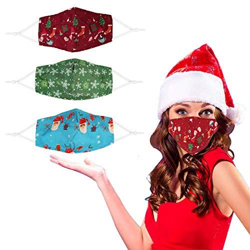 Gigilli Christmas Reusable Face Cotton Bandanas, Christmas Party Supplies for Kids