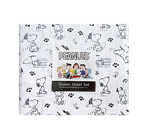 Peanuts Snoopy Black and White Sheet Set Queen from Berkshire Home