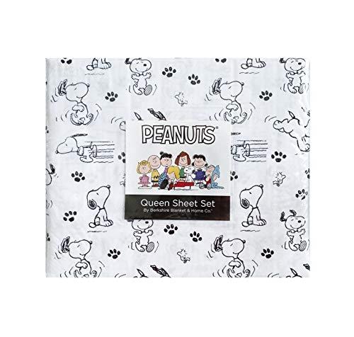 Peanuts Snoopy Juego de sábanas blanco y negro Queen de Berkshire Home