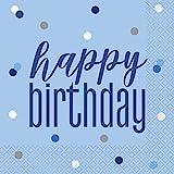 Unique Party- Tovaglioli di Carta, Blue & Silver, 83592