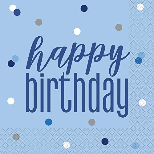 Unique Party Servietten 83592, Happy Birthday, Blau-16 Stück