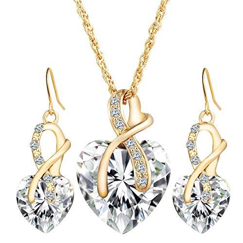 Joeyan Elegante Donna Cuore Set di Gioielli - Bellissimo Cristallo di Zirconi Orecchini Pendenti Collana Set di Gioielli, Bianco