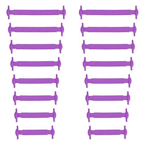 Xunits Elastische Silikon Schnürsenkel lila, flach Schleifenlose Schuhbänder in 13 (neon) für Kinder & Erwachsene