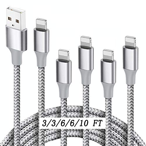 MFi Certified iPhone Charger Lightning Cable,ULTRAPROLINK 5Pack(3/3/6/6/10FT)Extra Long Nylon Braided USB Fast Charging&Syncing Cable Compatible with iPhone 12/11/Pro/Xs Max/X/8/7/Plus/6S/6/SE/5S,iPad