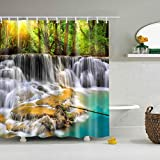 Boyouth Jungle Falls Pattern Digital Print Shower Curtains for Bathroom Decor,Polyester Waterproof Fabric Bath Curtain with 12 Hooks,70x70 Inches,Multicolor