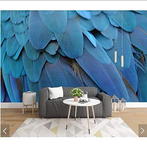 Cczxfcc wandbehang met blauwe veer, 3D-wandtrekker, voor woonkamer 140 x 100 cm