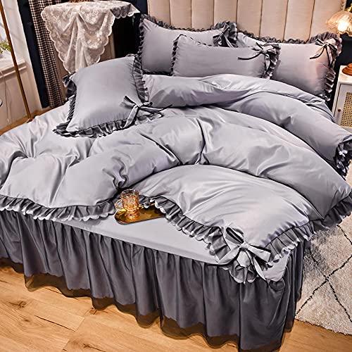 funda nordica cama 90 juveniles,La sensación de verano fresco es agua para lavar la ropa de cama de encaje de viento de la princesa de cuatro piezas de la princesa de cuatro piezas-GRAMO_1,5 m la cam