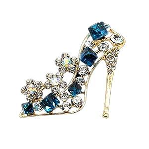 Ruikey donne eleganti strass scarpe da sposa gioielli spille pins sciarpe scialle clip