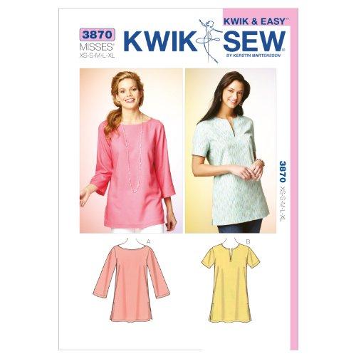 Kwik Sew Patroon K3870 – klein – medium – groot – extra grote tunieken maat XS, wit, 1 stuk