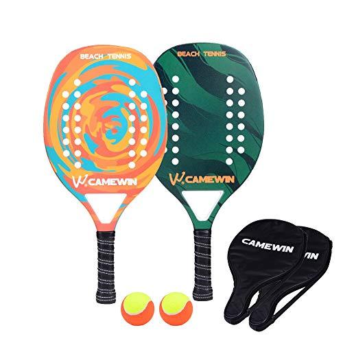 VAN Beach Tennis Racket Carbon Fiber Men Sport Tennis Paddle Set mit 2 Racquets 2 Taschen und 2 Kugeln OrangeandGreen