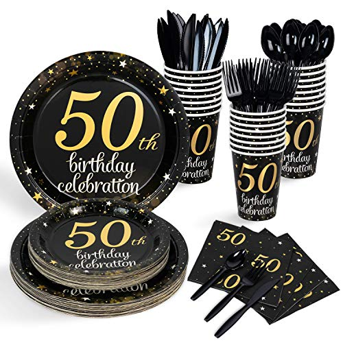 Decorlife 50th Birthday Decorations for Men Women, Party Plates and Napkin Sets for 24, Including Paper Plates, 12oz Cups, 48PCS Napkins, Cutlery Set - Total 192PCS