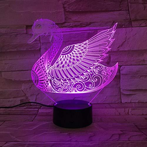 Suhang Set zwan voor huisdieren met nachtlampje met sensor in 7 kleuren verandert, lamp decoratie voor kinderen